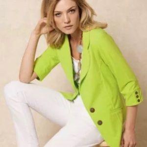 Neon Buddha stretchy cotton blazer lime green M